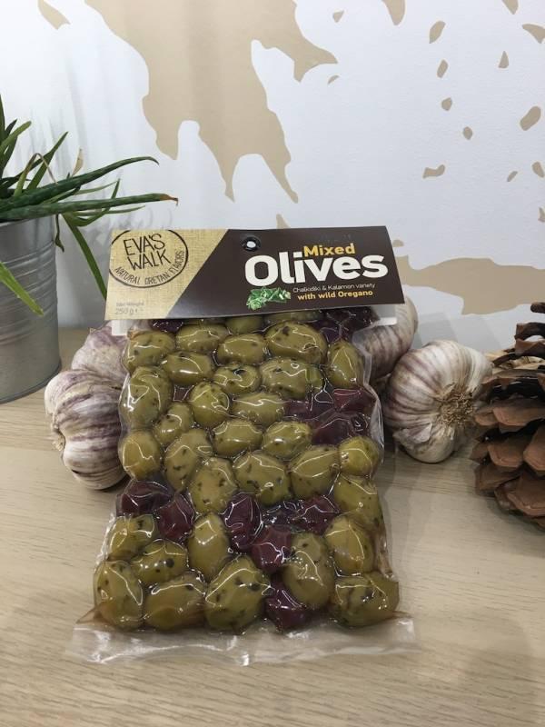 Olives Origan Chalkidiki Mixte 250 G Eva's Walk Vacuum 1 Ef Zin Www.ef Zin.fr Alimentation Spécialités Grecque