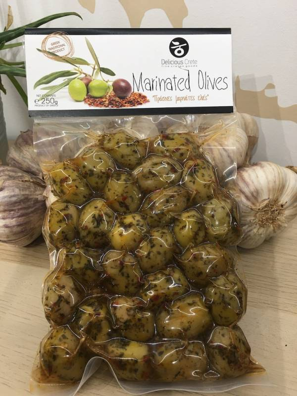 Olives Verte Mariné 250 G Delicious Crete Vacuum A Ef Zin Www.ef Zin.fr Alimentation Spécialités Grecque