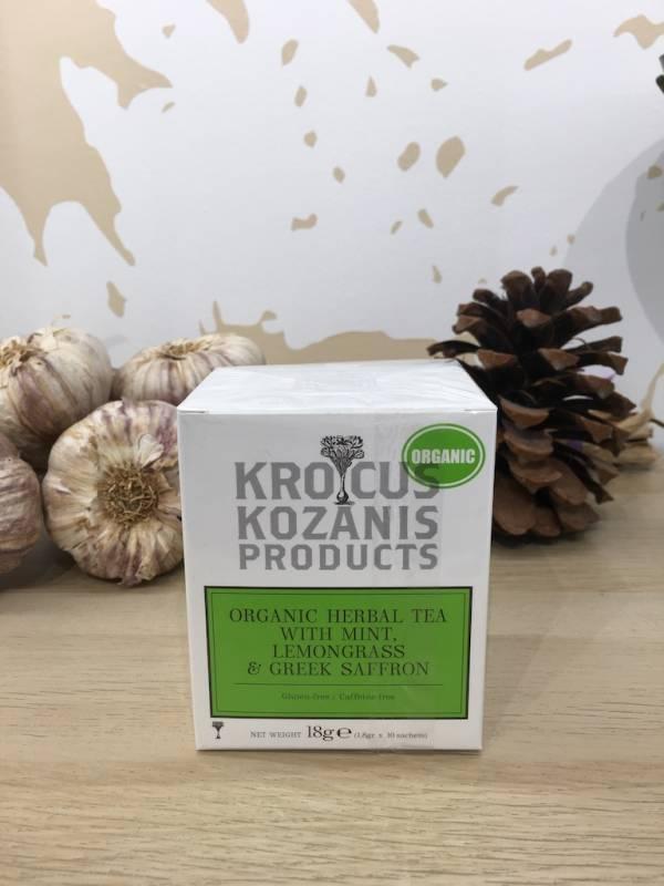 Tisane Safran & Menthe Citronnelle Bio 18 G Krocus Kozanis Boite 2 Ef Zin Www.ef Zin.fr Alimentation Spécialités Grecque