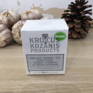 Tisane Safran & Sauge Verveine Bio 18 G Krocus Kozanis Boite 2 Ef Zin Www.ef Zin.fr Alimentation Spécialités Grecque
